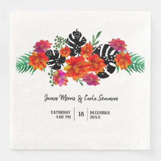 Wedding Trendy Watercolor Floral Tropical Plant Disposable Serviette