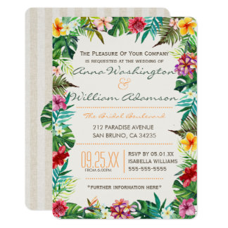Wedding | Tropical Leaves, Flora & Fancy Pineapple Card