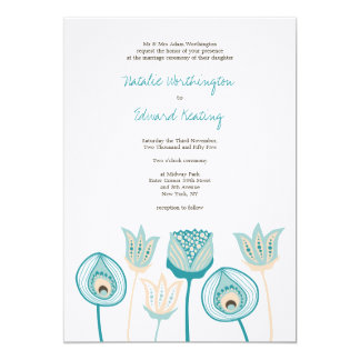 Wedding Turquoise Blue Ivory Funky Flowers 13 Cm X 18 Cm Invitation Card
