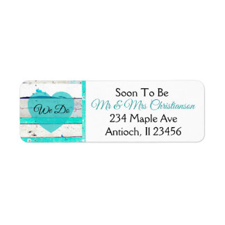 Wedding Turquoise Teal and White Wood Labels