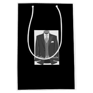 Wedding Tuxedo Father of the Bride Black Gift Bag Medium Gift Bag