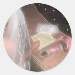 Wedding under the stars round sticker