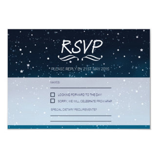 Wedding under the stars RSVP blue night sky 9 Cm X 13 Cm Invitation Card