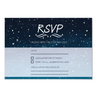 Wedding under the stars RSVP blue night sky Card