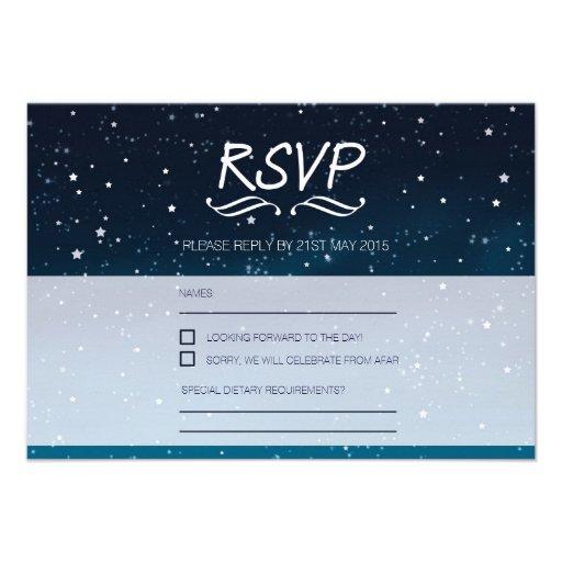 Wedding under the stars RSVP blue night sky Announcement