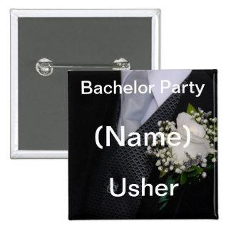 Wedding Usher 15 Cm Square Badge