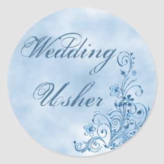 Wedding Usher Envelope Seals: Sky Blue Elegance Round Sticker