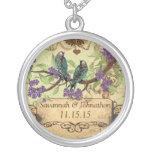 Wedding Vintage Birds Purple Blooms Necklace