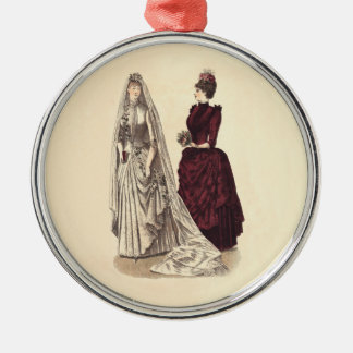 Wedding Vintage bridal party brides and bridesmaid Christmas Ornament