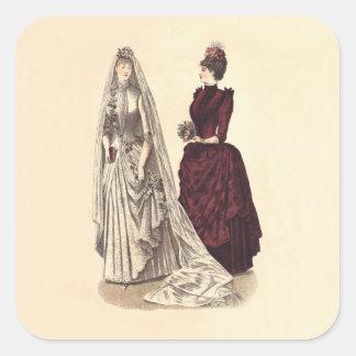 Wedding Vintage bridal party brides and bridesmaid Square Stickers