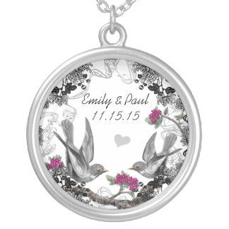 Wedding Vintage Fuchsia Birds Anniversary Necklace
