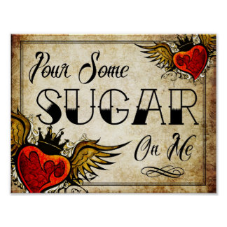 Wedding Vintage Heart Tattoo Dessert Table Poster