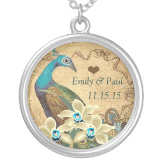 Wedding Vintage Peacock  Anniversary Necklace