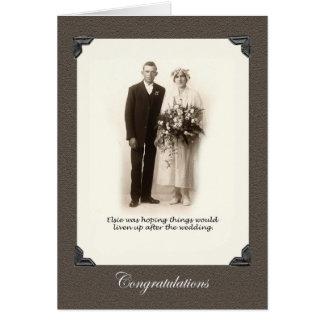 wedding, vintage photo bride and groom greeting card