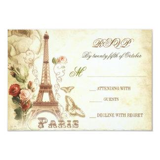 Wedding vintage shabby RSVP cards - PARIS FRANCE 9 Cm X 13 Cm Invitation Card