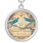 Wedding Vintage Teal Birds Anniversary Necklace