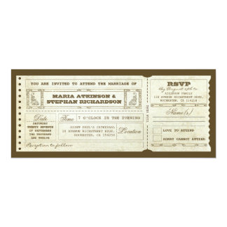 wedding vintage ticket invitation & rsvp design