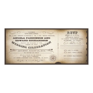 wedding vintage ticket invitation with RSVP design