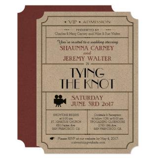 Wedding Vintage Ticket Invite / Cinema Film Theme
