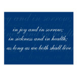 Wedding Vow In Sickness Blue Post Card