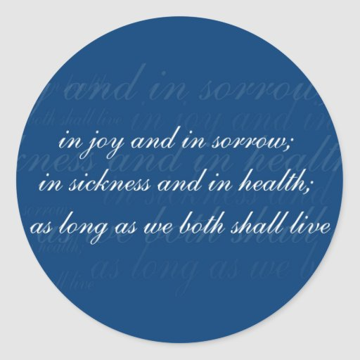 Wedding Vow In Sickness Blue Stickers