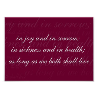 Wedding Vow In Sickness Magenta Poster