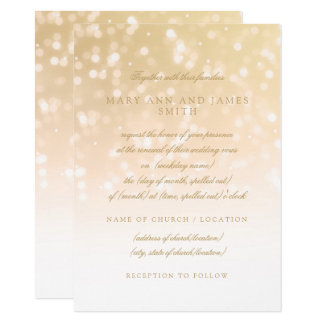 Wedding Vow Renewal Gold Bokeh Sparkle Lights Card