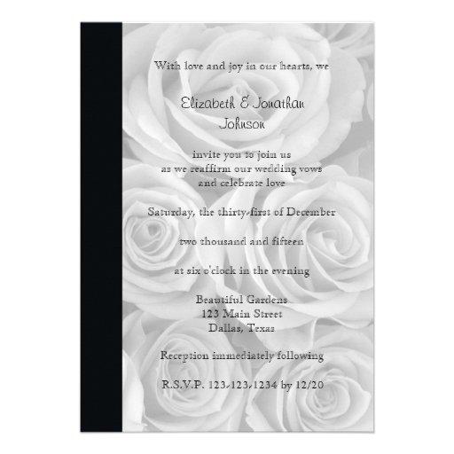 Wedding Vow Renewal Invitation --  Roses Card