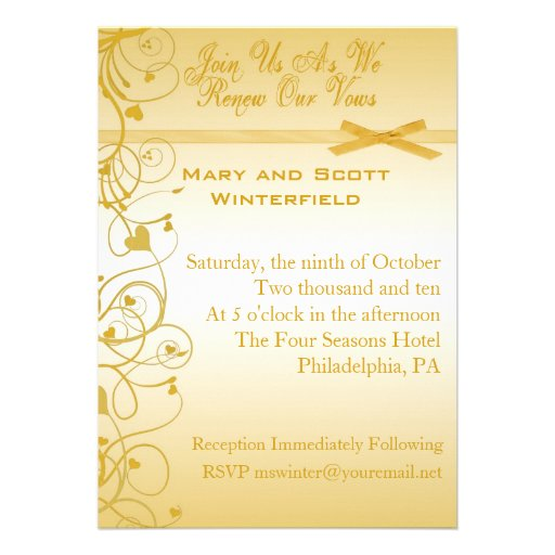 Wedding Vow Renewal Invitations 13 Cm X 18 Cm Invitation Card | Zazzle
