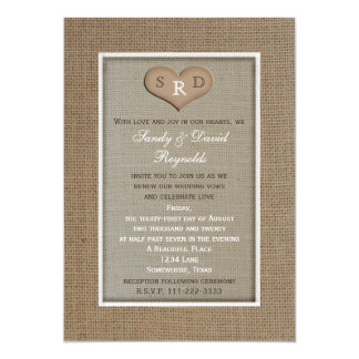Wedding Vow Renewal Rustic Burlap Frame with Heart Card