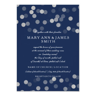 Wedding Vow Renewal Sliver Glitter Navy Blue Card