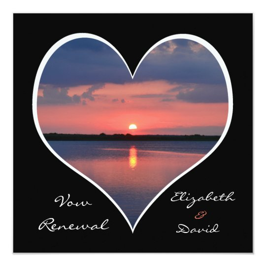 Wedding Vow Renewal Sunset in Heart on Black