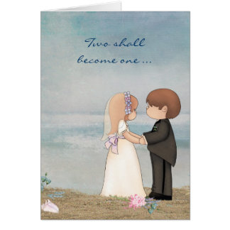 wedding vows on beach greeting card
