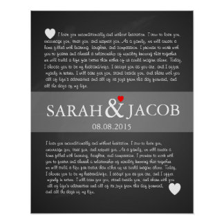 Wedding vows print anniversary gift
