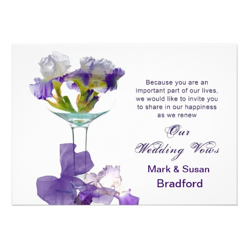 Wedding Vows Renewal  Invitations- Purple Iris Custom Invitation