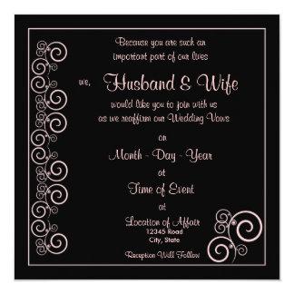 Wedding Vows Renewed - Black/Pink Spiral 13 Cm X 13 Cm Square Invitation Card