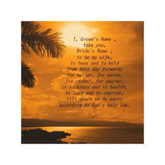 Wedding Vows Word Art Picture Stretched Canvas Prints