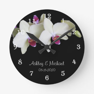 Wedding Wall Clock -- Personalized Orchid Flower