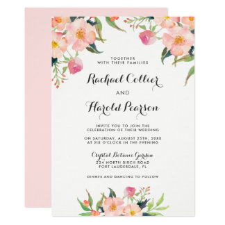 Wedding Watercolor Botanical Garden Floral Card