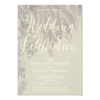 Wedding Watercolor  Lavender Foliage Invitation