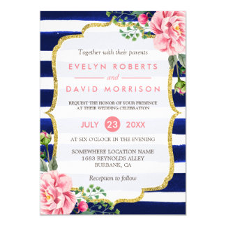 Wedding Watercolor Pink Floral Navy Blue Stripes 13 Cm X 18 Cm Invitation Card