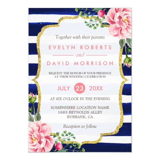 Wedding Watercolor Pink Floral Navy Blue Stripes Card