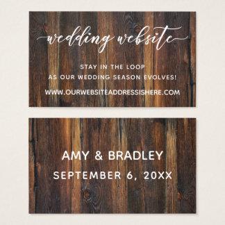 Wedding Website Details, Script & Rustic Wood Business Card