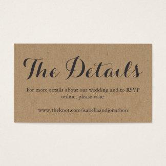 Wedding Website Enclosure Card | Rustic Kraft