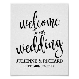 Wedding Welcome Black and White 8x10 Sign