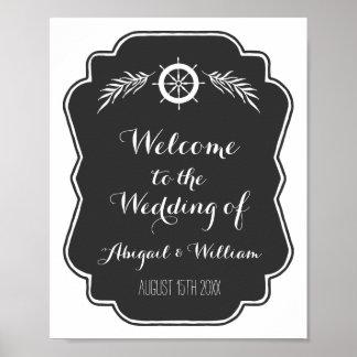 Wedding Welcome Custom Sign Nautical Chalkboard Poster
