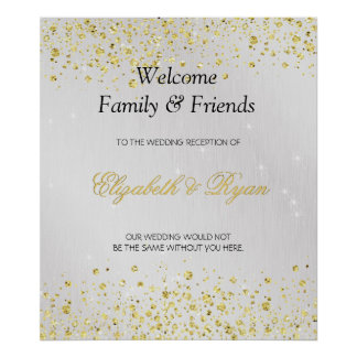 Wedding Welcome, Faux Gold Glitter and Silver Foil Poster