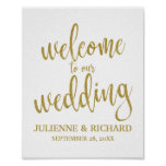 Wedding Welcome Gold Glitter 8x10 Sign