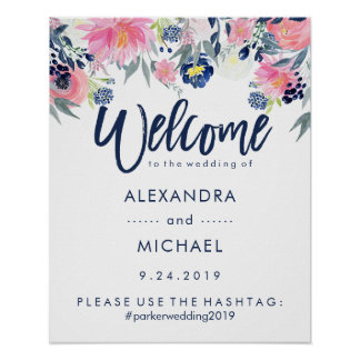 Wedding Welcome Hashtag | Blush and Navy Floral Poster