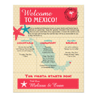 Wedding Welcome Letter for Riviera Maya Mexico 11.5 Cm X 14 Cm Flyer